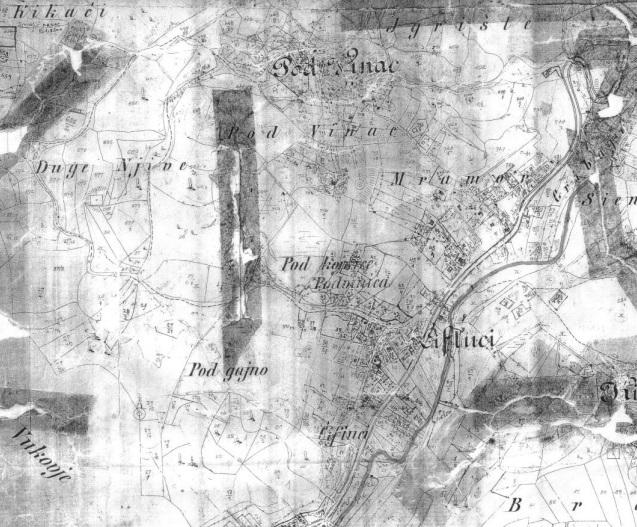 Kopija austrougarskog katastarskog plana K. O. Kikači